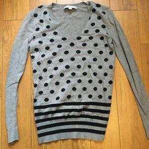 Loft Grey V-Neck Black Polka Dot/Striped Sweater